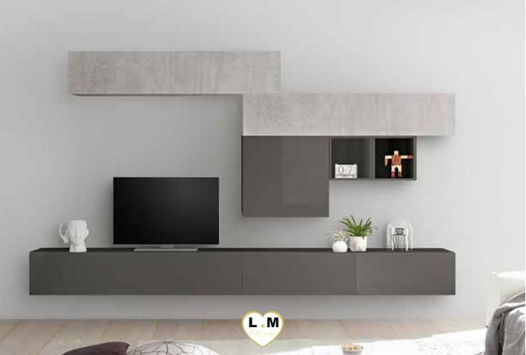 LUDOVICA 36 LAQUE GRIS ET BETON ENSEMBLE COMPOSITION MURALE MEUBLE TV TENDANCE