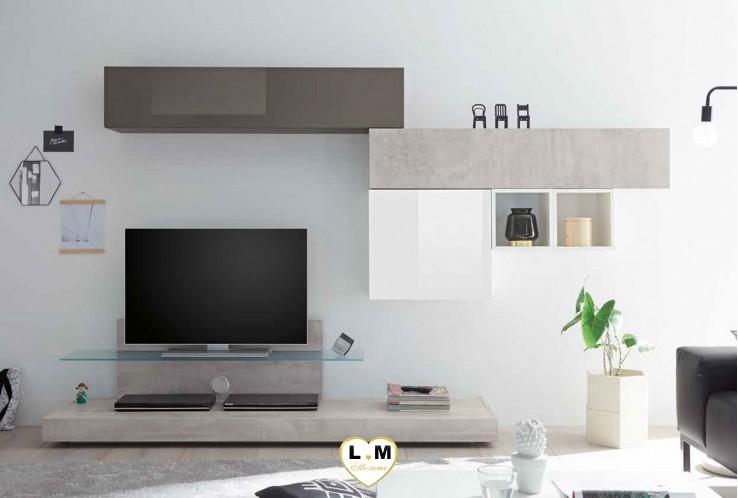 LUDOVICA 55 LAQUE GRIS ET BLANC ET BETON ENSEMBLE COMPOSITION MURALE MEUBLE TV TENDANCE