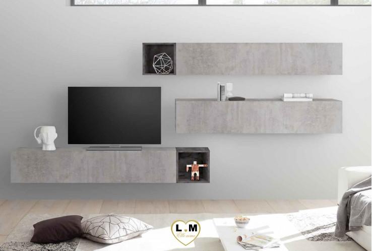 LUDOVICA 47 LAQUE  BETON ET OXYDE ENSEMBLE COMPOSITION MURALE MEUBLE TV TENDANCE