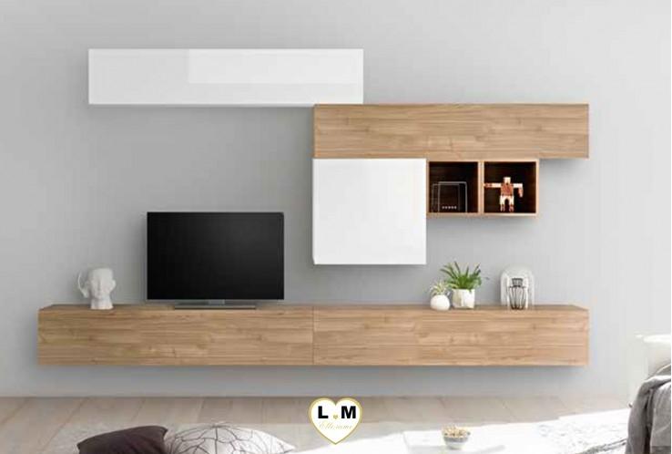 LUDOVICA 36 LAQUE BLANC ET NOYER ENSEMBLE COMPOSITION MURALE MEUBLE TV TENDANCE