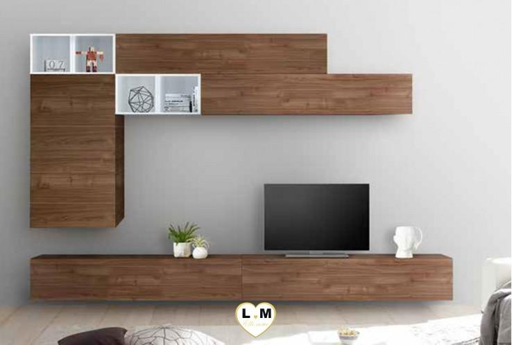 LUDOVICA 54 LAQUE BLANC ET NOYER FONCE ENSEMBLE COMPOSITION MURALE MEUBLE TV TENDANCE