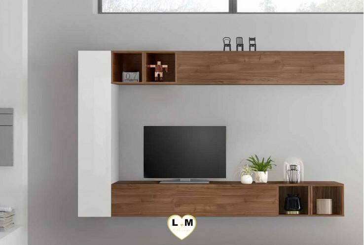 LUDOVICA 52 LAQUE BLANC ET NOYER FONCE ENSEMBLE COMPOSITION MURALE MEUBLE TV TENDANCE