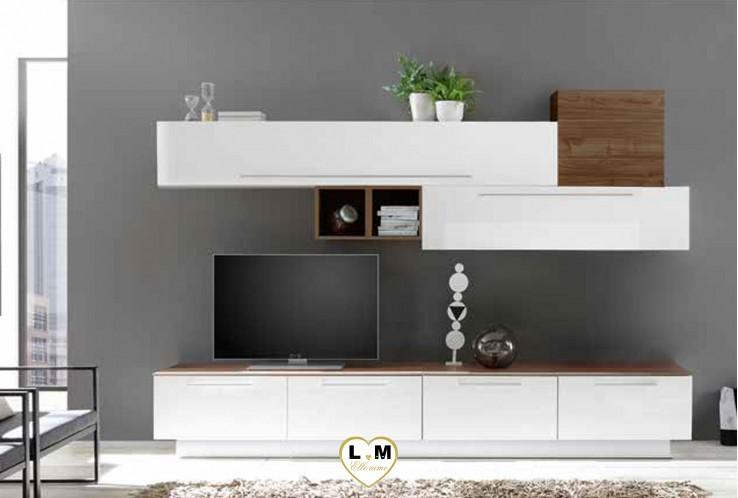 LUDOVICA 14 LAQUE BLANC ET NOYER FONCE ENSEMBLE COMPOSITION MURALE MEUBLE TV TENDANCE