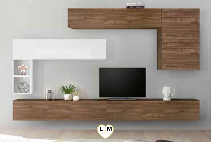 LUDOVICA 30 LAQUE BLANC ET NOYER FONCE ENSEMBLE COMPOSITION MURALE MEUBLE TV TENDANCE