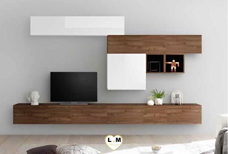 LUDOVICA 36 LAQUE BLANC ET NOYER  FONCE ENSEMBLE COMPOSITION MURALE MEUBLE TV TENDANCE