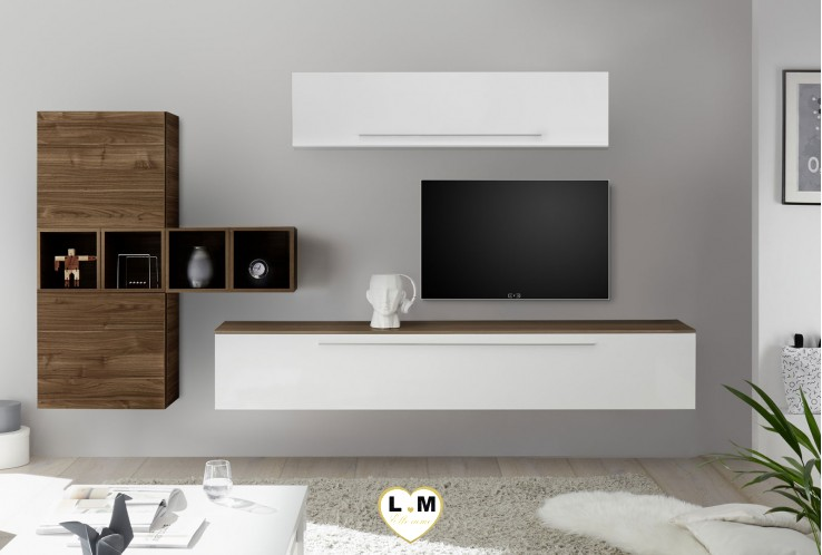 LUDOVICA 38 LAQUE BLANC ET NOYER FONCE ENSEMBLE COMPOSITION MURALE MEUBLE TV TENDANCE