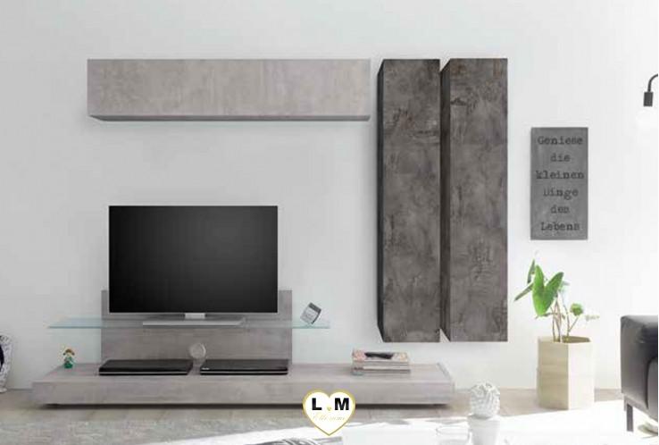 LUDOVICA 40 LAQUE OXYDE ET BETON ENSEMBLE COMPOSITION MURALE MEUBLE TV TENDANCE
