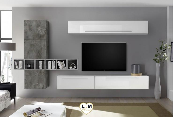 LUDOVICA 16 LAQUE BLANC ET OXYDE ENSEMBLE COMPOSITION MURALE MEUBLE TV TENDANCE