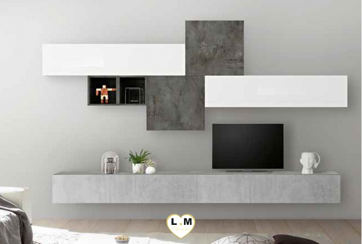 LUDOVICA 46 LAQUE BLANC ET BETON ET OXYDE ENSEMBLE COMPOSITION MURALE MEUBLE TV TENDANCE