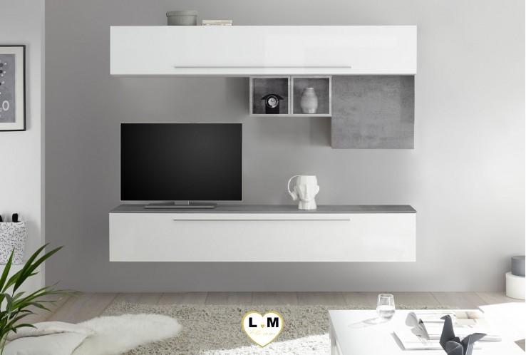 LUDOVICA 12 LAQUE BLANC ET BETON ENSEMBLE COMPOSITION MURALE MEUBLE TV TENDANCE