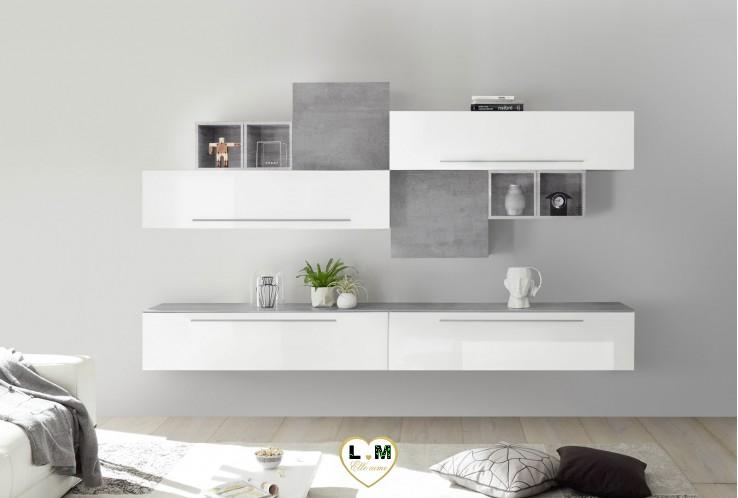 LUDOVICA 6 LAQUE BLANC ET BETON ENSEMBLE COMPOSITION MURALE MEUBLE TV TENDANCE