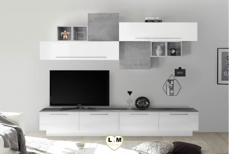 LUDOVICA 5 LAQUE BLANC ET BETON FONCE ENSEMBLE COMPOSITION MURALE MEUBLE TV TENDANCE