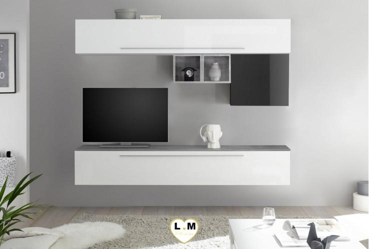 LUDOVICA 12 LAQUE BLANC ET GRIS ENSEMBLE COMPOSITION MURALE MEUBLE TV TENDANCE