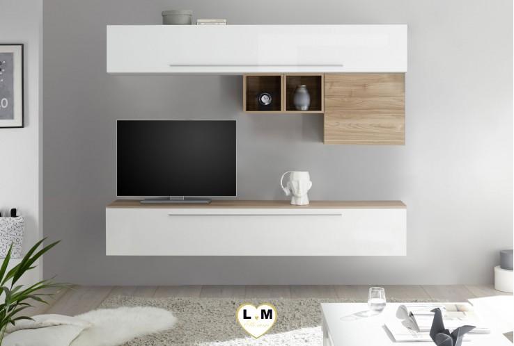 LUDOVICA 12 LAQUE BLANC ET NOYER ENSEMBLE COMPOSITION MURALE MEUBLE TV TENDANCE
