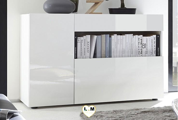 LEONTINE LAQUÉ BLANC SÉJOUR SALLE À MANGER TENDANCE : Le Buffet 1 tiroir 2 portes 1 niche