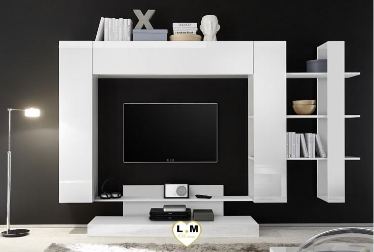 LEONTINE 2 LAQUE BLANC ENSEMBLE COMPOSITION  MEUBLE TV TENDANCE