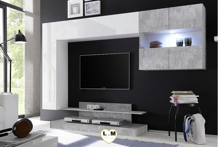 LEONTINE LAQUE BLANC AVET VITRINE ET MEUBLE TV BETON ENSEMBLE COMPOSITION MEUBLE TV TENDANCE