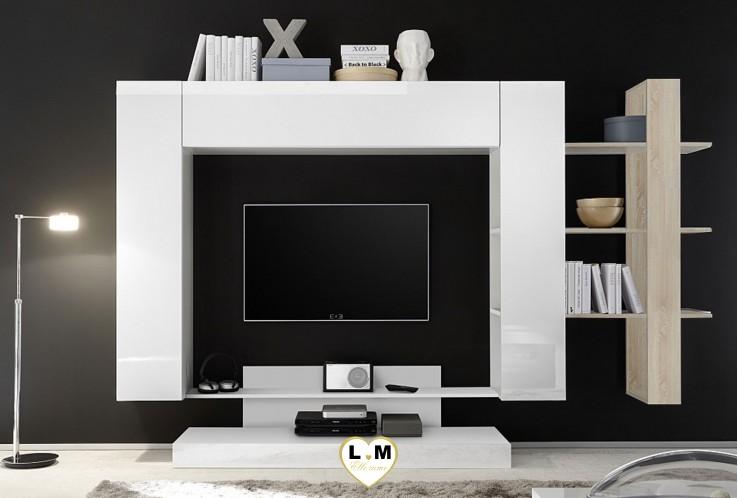 LEONTINE 2 LAQUE BLANC AVEC ETAGERE CHENE ENSEMBLE COMPOSITION  MEUBLE TV TENDANCE