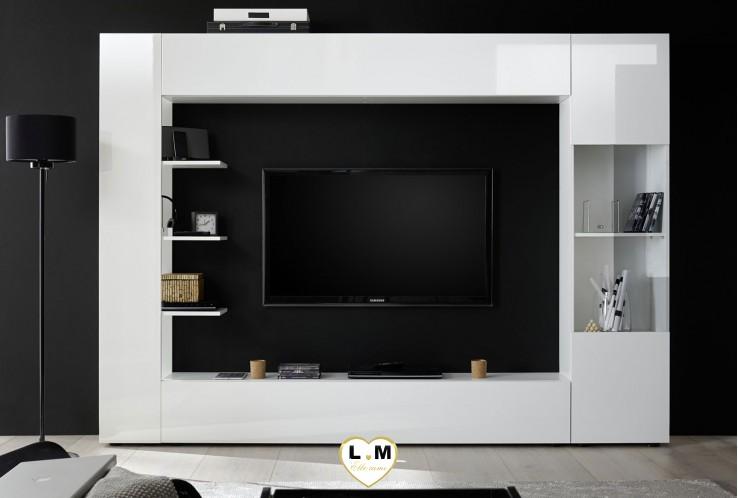 LUCIE LAQUE BLANC ENSEMBLE COMPOSITION 2 MEUBLE TV TENDANCE