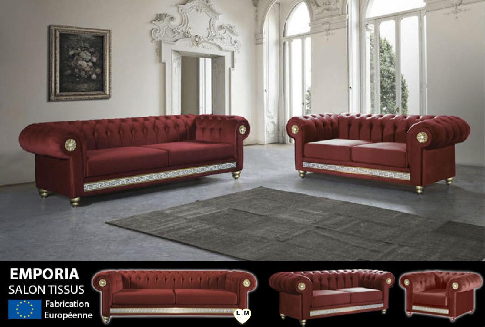 chesterfield emporia line ensemble salon tissus rouge lignemeuble com. Black Bedroom Furniture Sets. Home Design Ideas