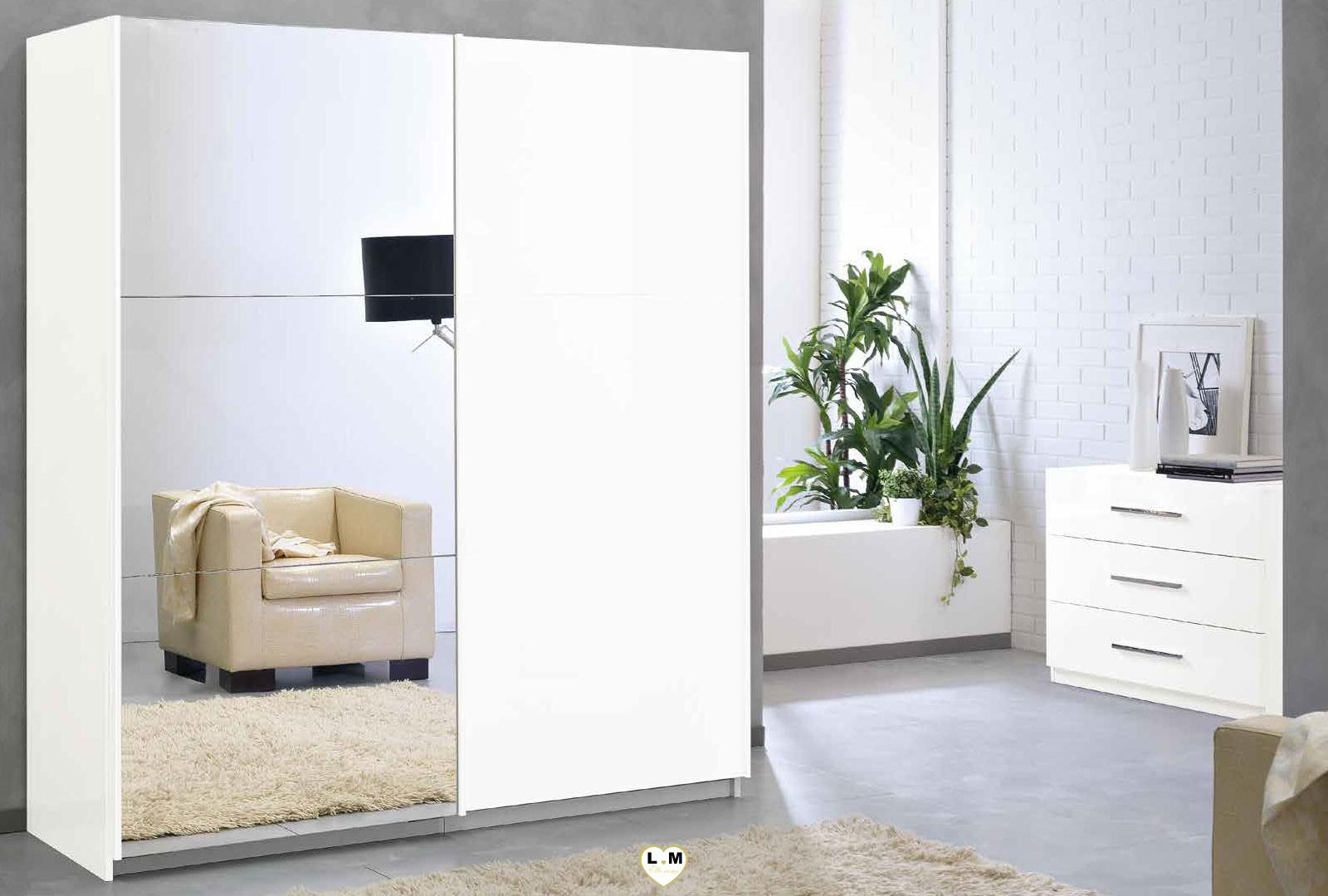 Sirolo laque blanc armoire 230 moderne l 39 armoire 2 portes bois et miroir coulissantes ligne - Armoire 2 portes coulissantes blanc ...