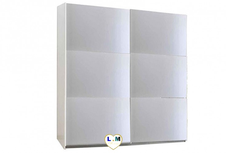 SIROLO LAQUE BLANC ARMOIRE 150 MODERNE : L'Armoire 2 Portes Miroirs Coulissantes