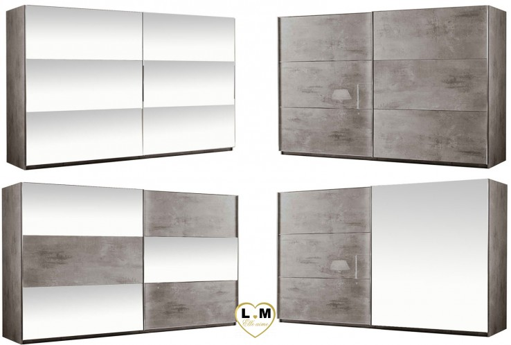 SIROLO LAQUE MARBRÉ TAUPE ARMOIRE 260 MODERNE