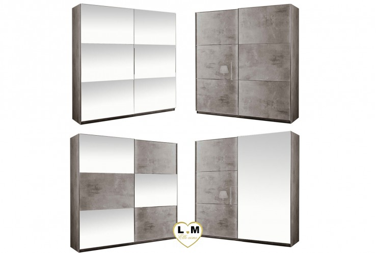 SIROLO LAQUE MARBRÉ TAUPE ARMOIRE 150 MODERNE