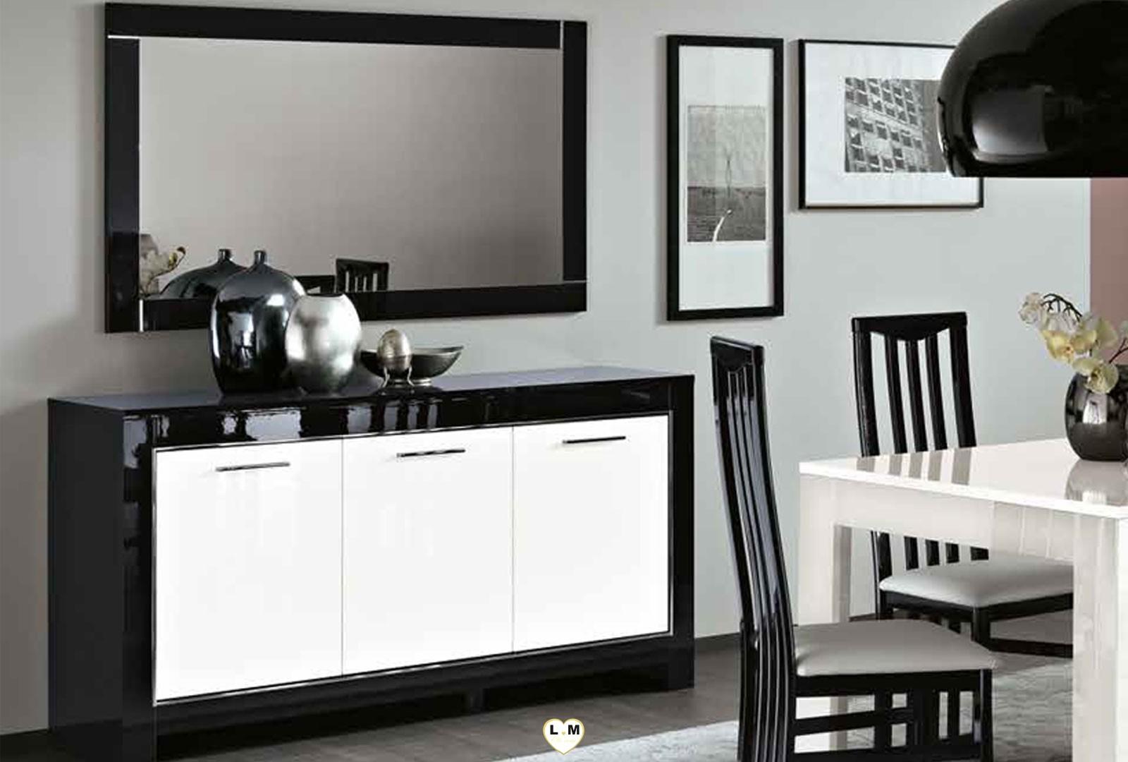 Marina laque noir et blanc ensemble sejour salle a manger - Salle a manger noir et blanc laque ...