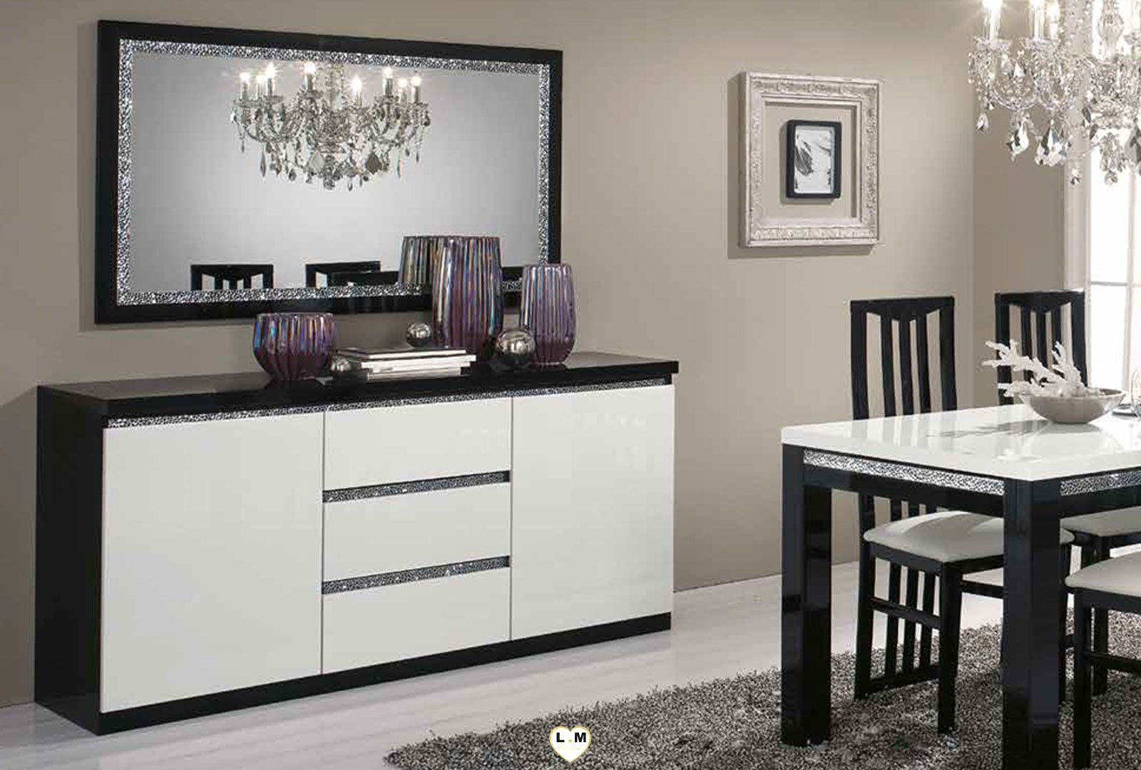 miramare laque noir et blanc sejour salle a manger design le petit miroir ligne meuble votre