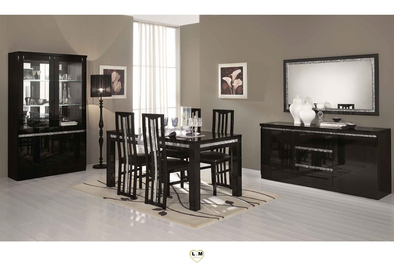 miramare laque noir sejour salle a manger design la. Black Bedroom Furniture Sets. Home Design Ideas
