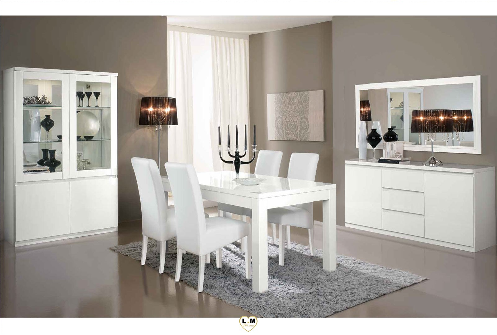 rivazzura laque blanc sejour salle a manger moderne la. Black Bedroom Furniture Sets. Home Design Ideas