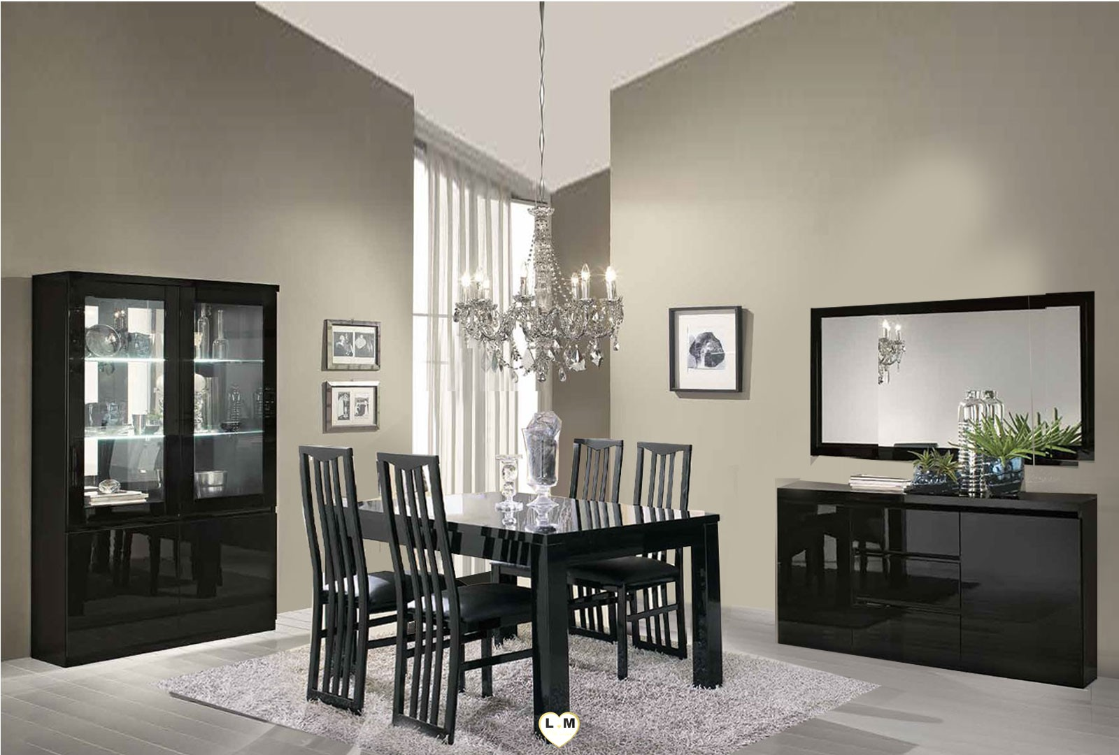 rivazzura laque noir sejour salle a manger moderne le. Black Bedroom Furniture Sets. Home Design Ideas