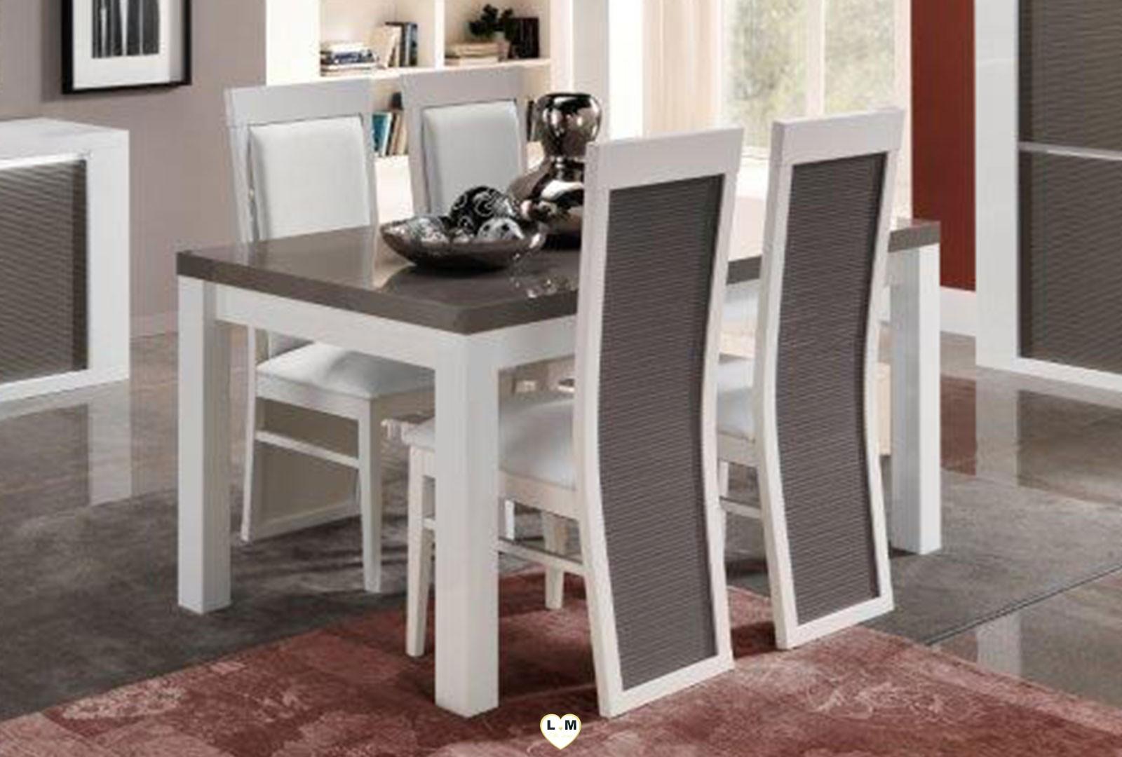 Lido laque gris et blanc sejour salle a manger moderne Salle a manger blanc et gris