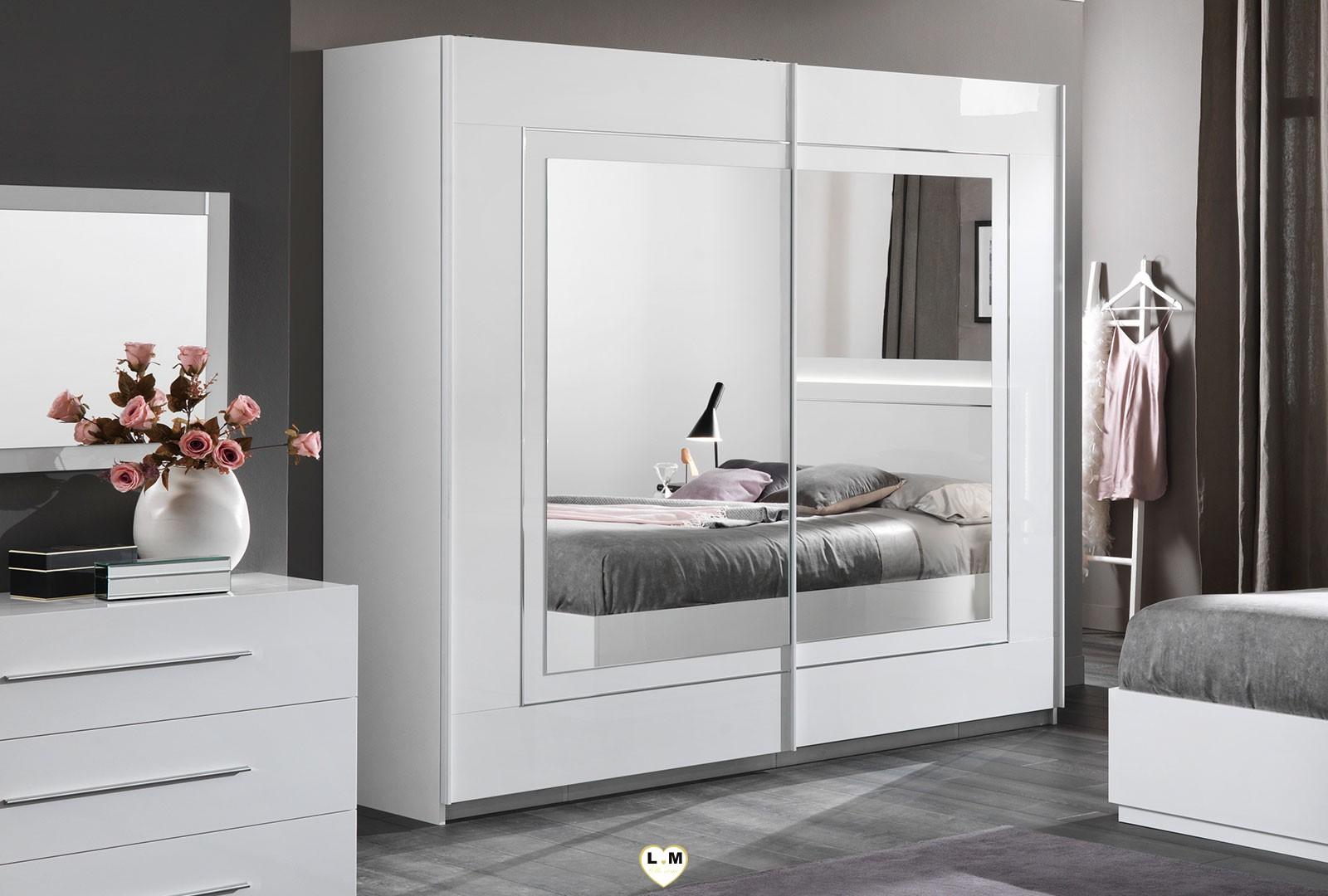 Sirolo laque blanc chambre a coucher moderne l 39 ensemble - Armoire chambre avec miroir ...