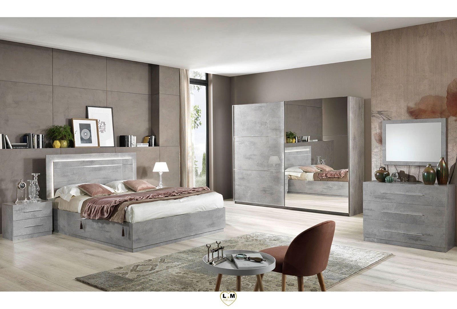 Sirolo laque marbre taupe chambre a coucher moderne l - Chambre a coucher porte coulissante ...