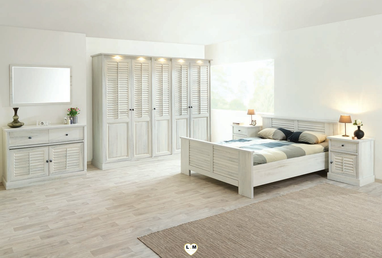 merida bois blanc vieilli ensemble chambre a coucher lignemeuble com. Black Bedroom Furniture Sets. Home Design Ideas