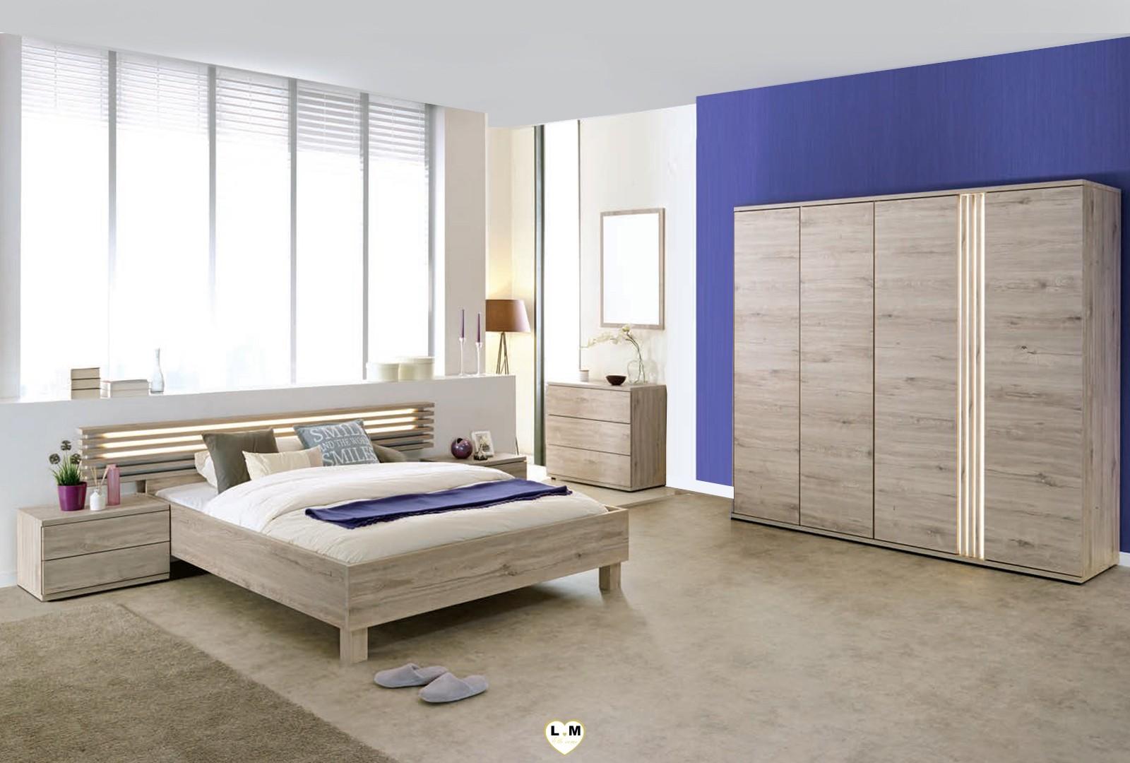 maddly bois chene gris clair ensemble chambre a coucher lignemeuble com. Black Bedroom Furniture Sets. Home Design Ideas