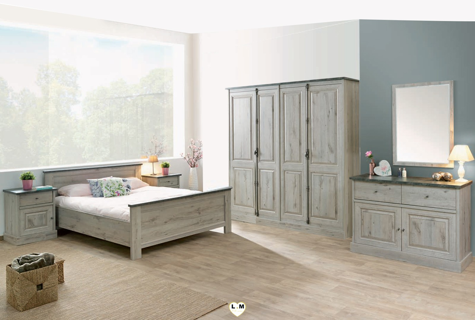 Madleen bois chene excalibur ensemble chambre a coucher for Ensemble armoire commode chambre
