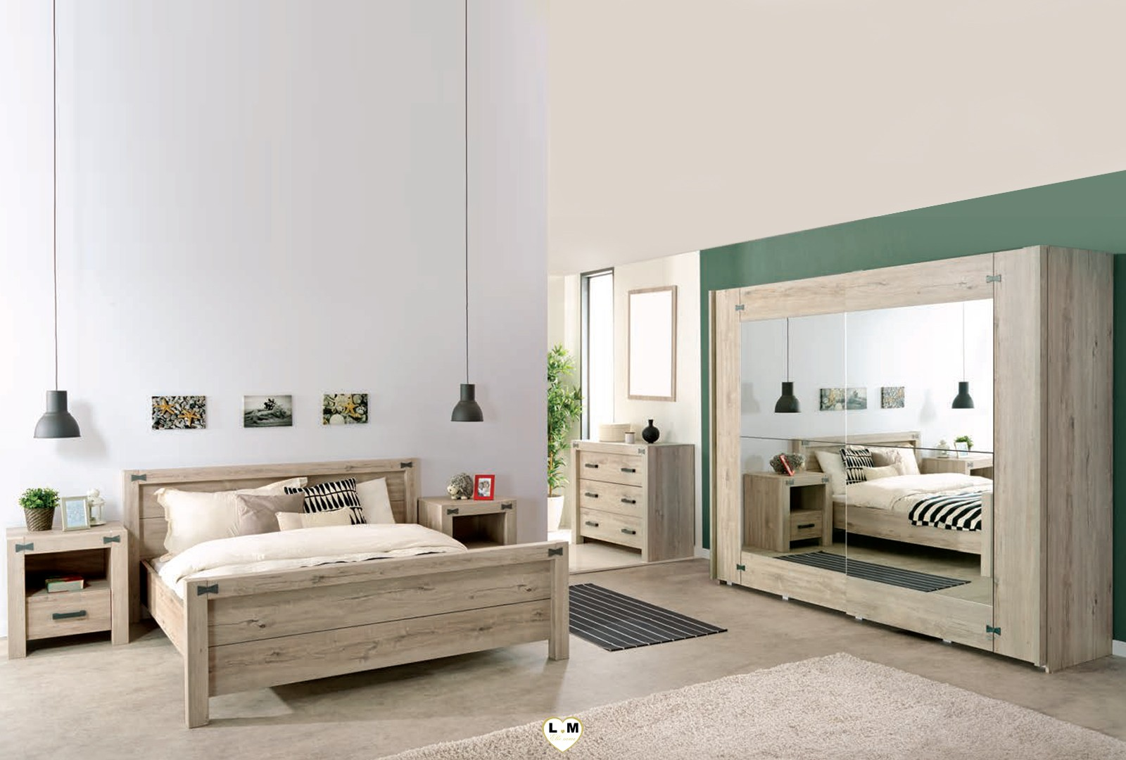 maybeline bois chene gris clair ensemble chambre a coucher lignemeuble com. Black Bedroom Furniture Sets. Home Design Ideas