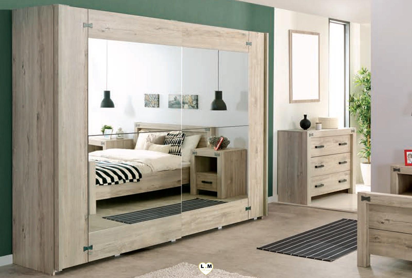 Maybeline bois chene gris clair ensemble chambre a coucher for Chambre a coucher ensemble