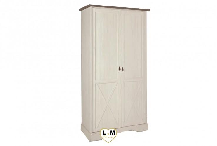 MARY BOIS MELEZE BLANC CHAMBRE BEBE: L' ARMOIRE 2 PORTES - 2 portes pleines - Intériueur: étagère haute avec penderie et étagère basse - L: 118- P: 63 - H: 213cm.