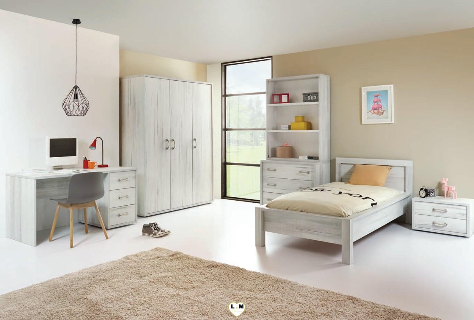 Maty bois blanc vieilli ensemble chambre ado votre site de meuble en ligne - Chambre bois blanc ...