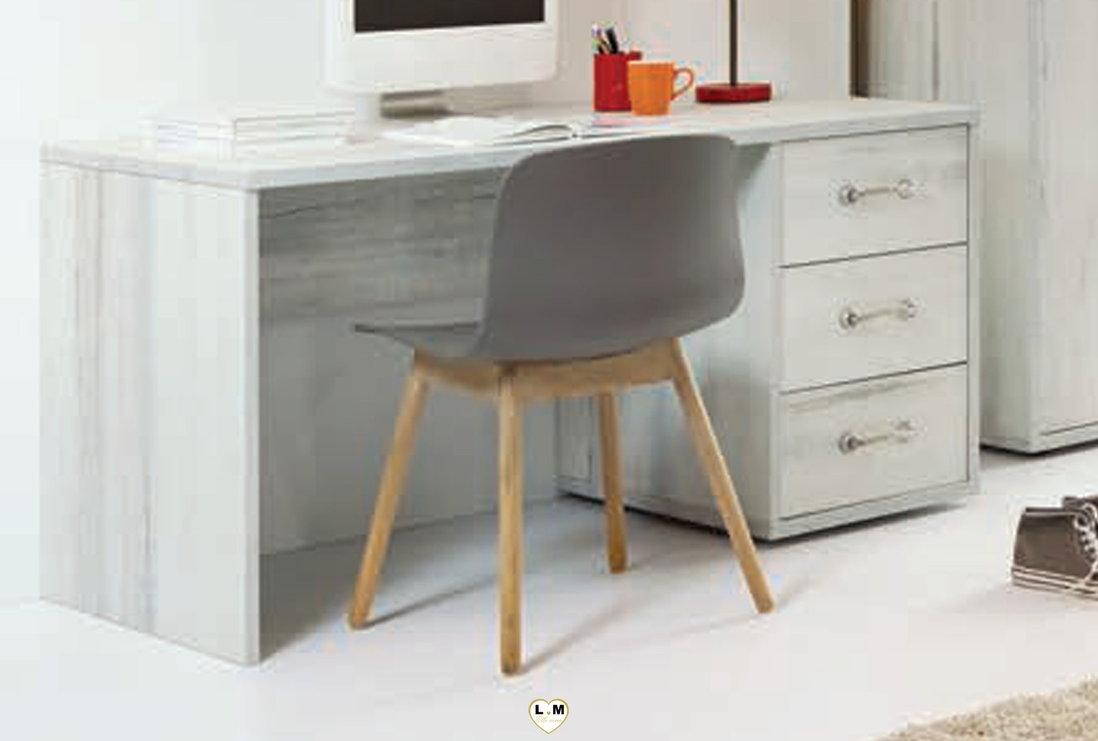 Maty bois blanc vieilli ensemble chambre ado lignemeuble.com