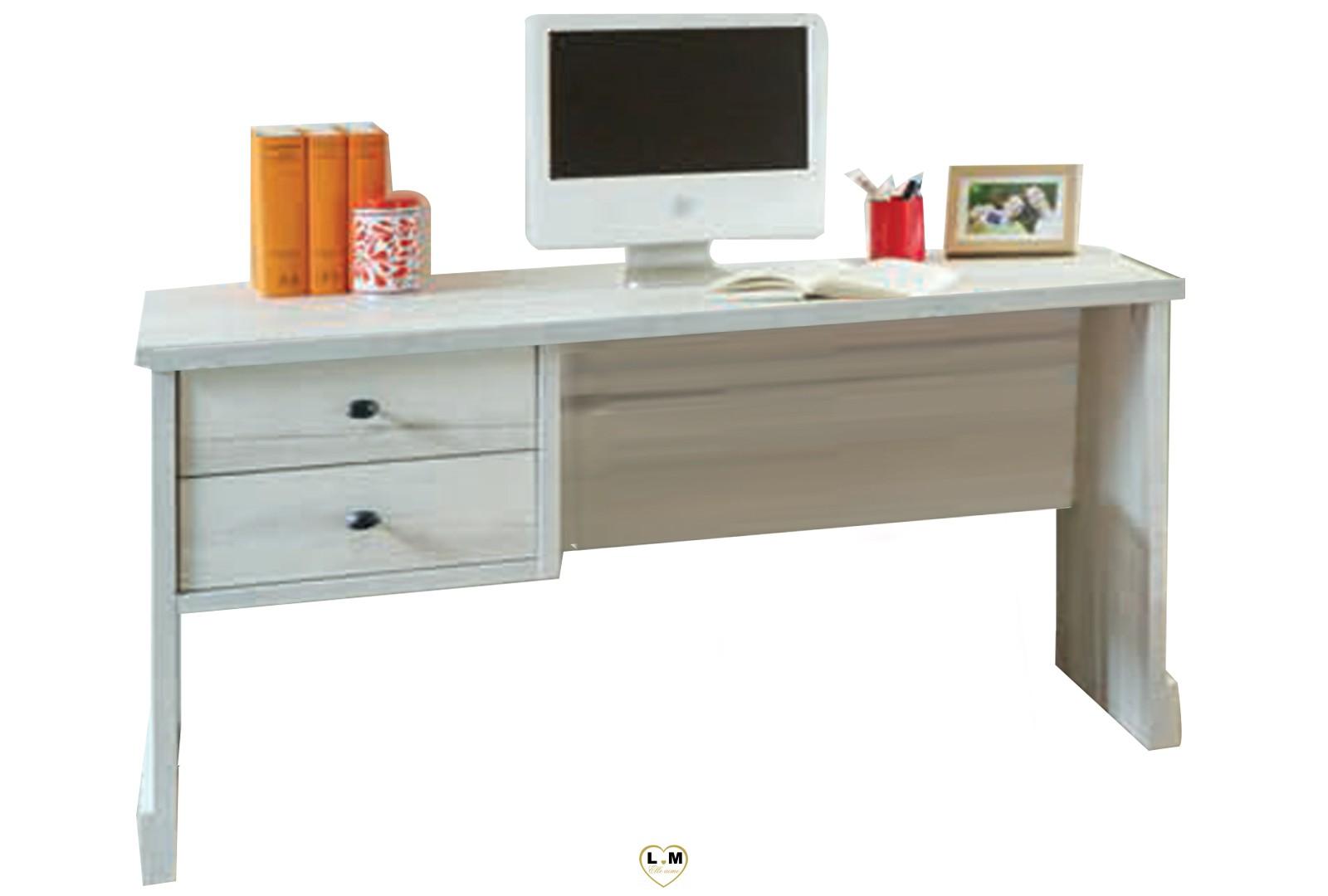 Merida bois blanc vieilli chambre ado le bureau bloc 2 tiroirs