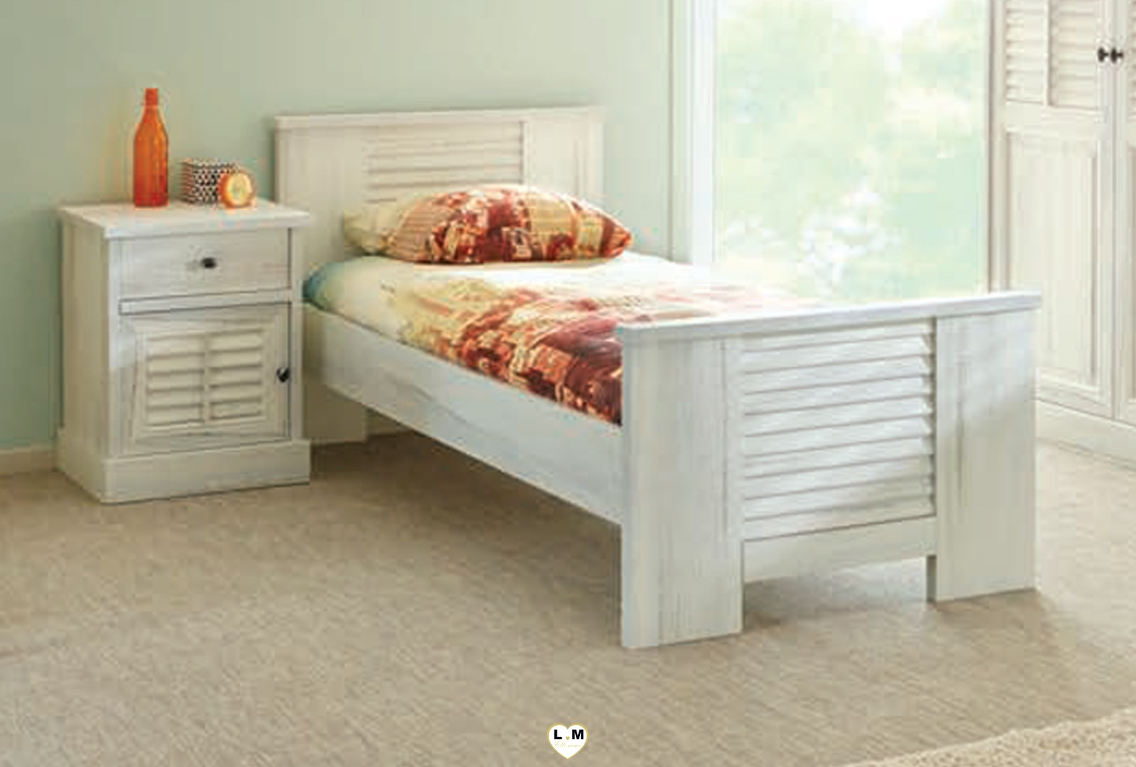 Merida bois blanc vieilli ensemble chambre ado votre site de meuble en ligne - Chambre bois blanc ...