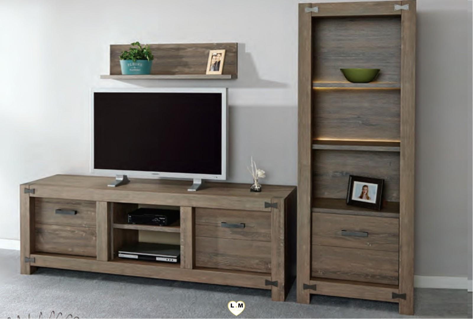 Papillon chene brun ensemble salle a manger lignemeuble com for Ensemble salle a manger et meuble tv