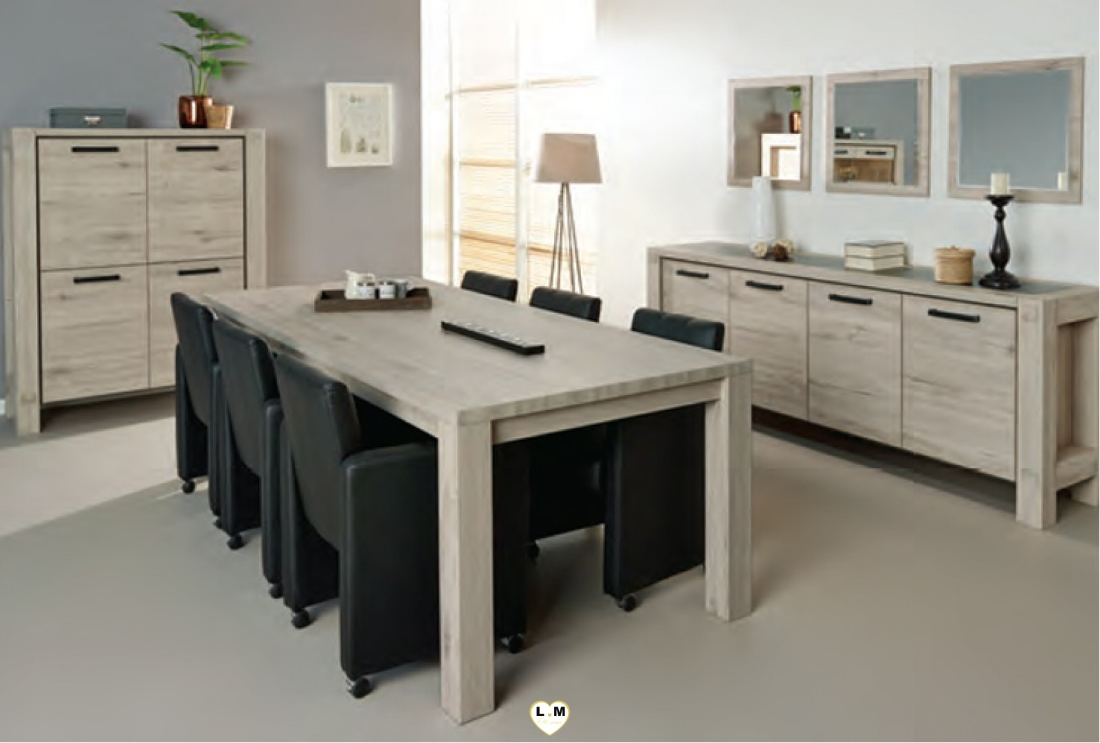 riga chene clair et gris noir ensemble salle a manger. Black Bedroom Furniture Sets. Home Design Ideas