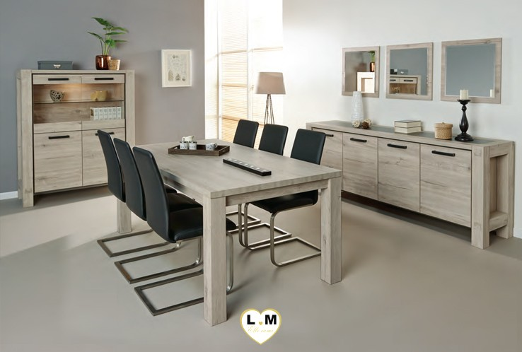 riga chene clair et gris noir ensemble salle a manger lignemeuble com. Black Bedroom Furniture Sets. Home Design Ideas