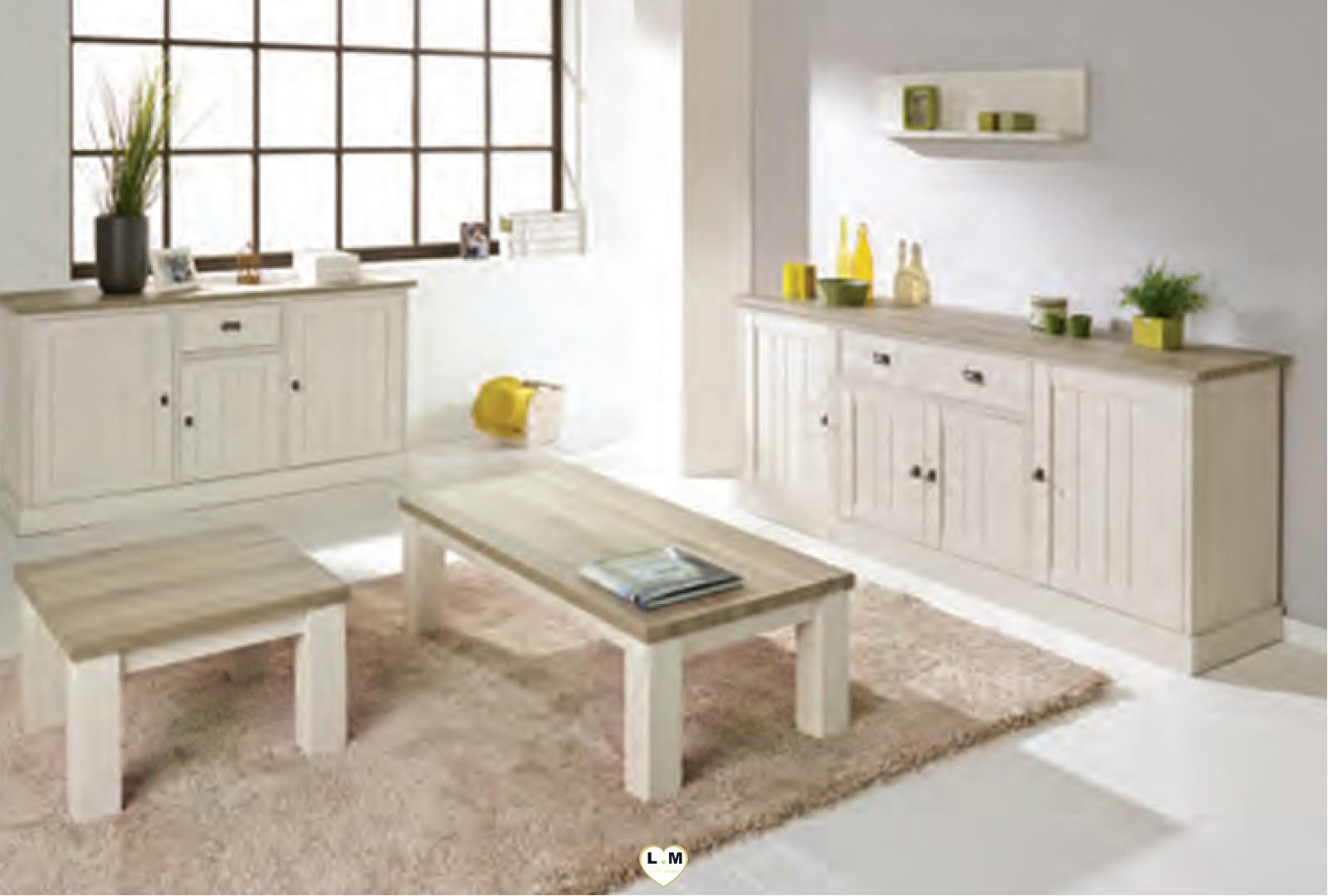 York 1 chene blanc et miel ensemble sejour salle a manger for Ensemble salle a manger blanc